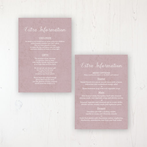 Dusty Rose Garden Wedding Info Insert Card Personalised Front & Back