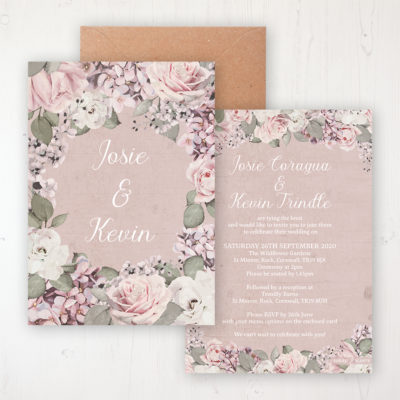 Dusty Rose Garden Wedding Invitation - Flat Personalised Front & Back with Rustic Envelope