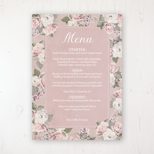 Dusty Rose Garden Wedding Menu Card Personalised to display on tables