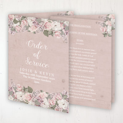 Dusty Rose Garden Wedding Order of Service - Booklet Personalised Front & Inside Pages