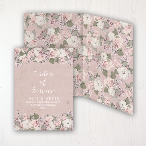 Dusty Rose Garden Wedding Order of Service - DIY Cover Personalised Cover with Patterned Inside