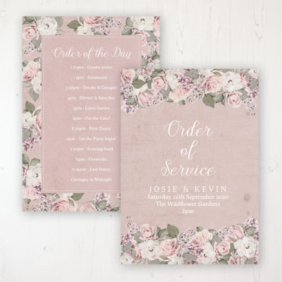 Dusty Rose Garden Wedding Order of Service - Card Personalised front and back