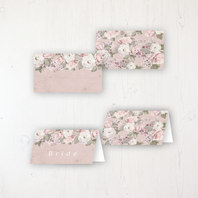 Dusty Rose Garden Wedding Place Name Cards Blank and Personalised with Flat or Folded Option