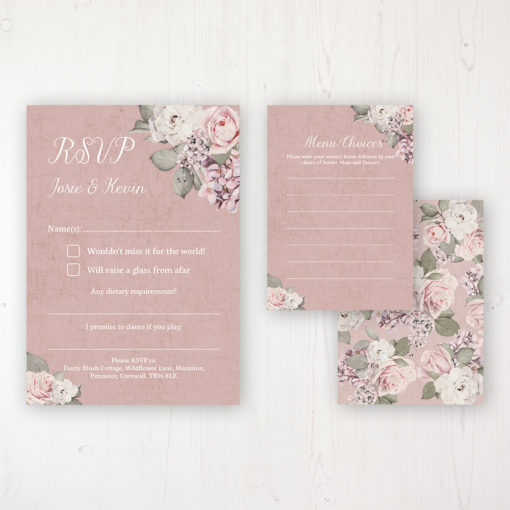 Dusty Rose Garden Wedding RSVP Personalised Front & Back with Rustic Envelope