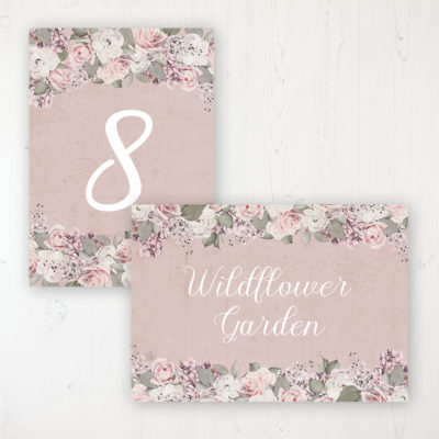 Dusty Rose Garden Wedding Table Name & Number Personalised Table Name Card and Number Card