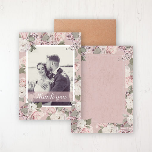 Dusty Rose Garden Wedding Thank You Card - Flat with a photo and with space to write own message