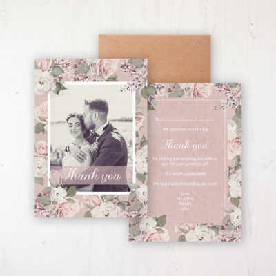 Dusty Rose Garden Wedding Thank You Card - Flat Personalised with a Message & Photo