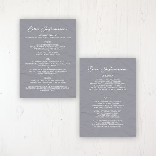 Floraison Lace Wedding Info Insert Card Personalised Front & Back