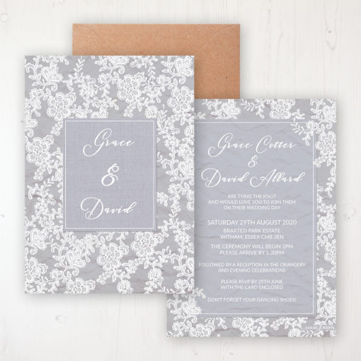 Floraison Lace Wedding Invitation - Flat Personalised Front & Back with Rustic Envelope