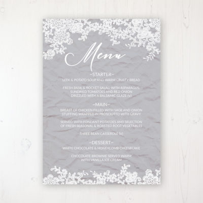 Floraison Lace Wedding Menu Card Personalised to display on tables