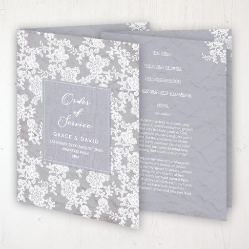 Floraison Lace Wedding Order of Service - Booklet Personalised Front & Inside Pages