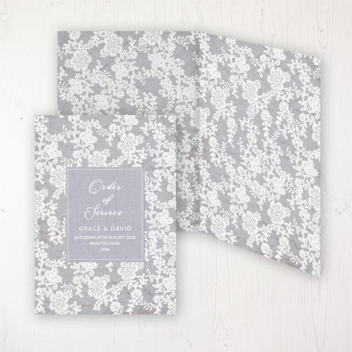 Floraison Lace Wedding Order of Service - DIY Cover Personalised Cover with Patterned Inside