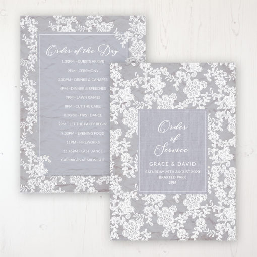 Floraison Lace Wedding Order of Service - Card Personalised front and back