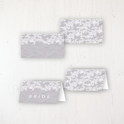 Floraison Lace Wedding Place Name Cards Blank and Personalised with Flat or Folded Option