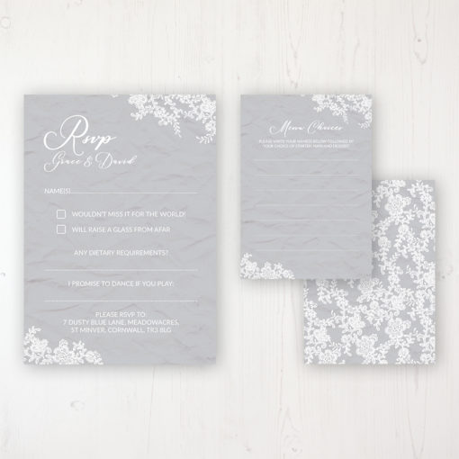 Floraison Lace Wedding RSVP Personalised Front & Back with Rustic Envelope