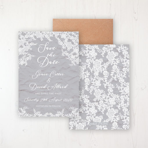 Floraison Lace Wedding Save the Date Personalised Front & Back with Rustic Envelope