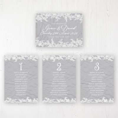 Floraison Lace Wedding Table Plan Cards Personalised with Table Names and Guest Names