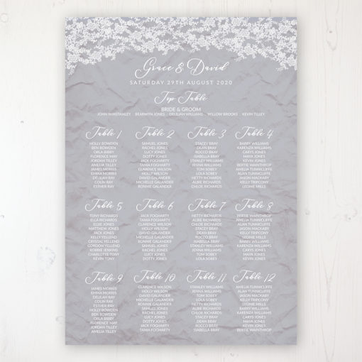 Floraison Lace Wedding Table Plan Poster Personalised with Table and Guest Names