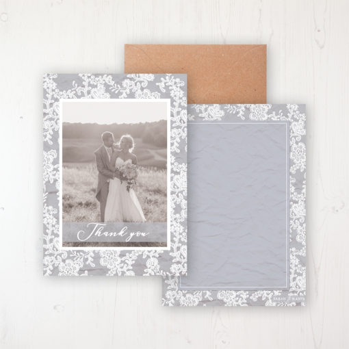 Floraison Lace Wedding Thank You Card - Flat with a photo and with space to write own message