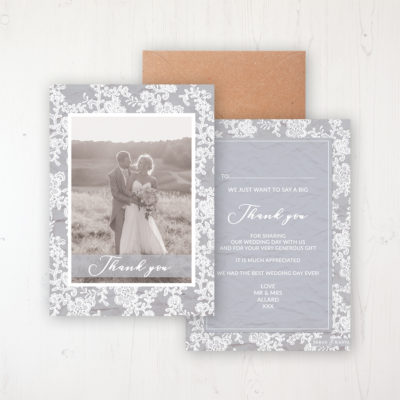 Floraison Lace Wedding Thank You Card - Flat Personalised with a Message & Photo