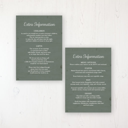 Forrester Green Wedding Info Insert Card Personalised Front & Back