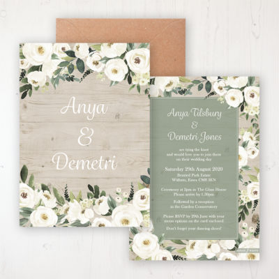 Forrester Green Wedding Invitation - Flat Personalised Front & Back with Rustic Envelope