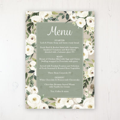 Forrester Green Wedding Menu Card Personalised to display on tables