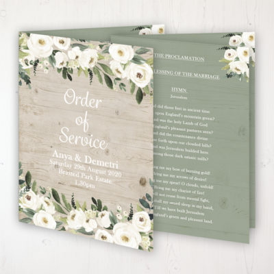 Forrester Green Wedding Order of Service - Booklet Personalised Front & Inside Pages