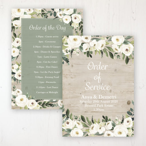 Forrester Green Wedding Order of Service - Card Personalised front and back