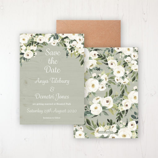 Forrester Green Wedding Save the Date Personalised Front & Back with Rustic Envelope