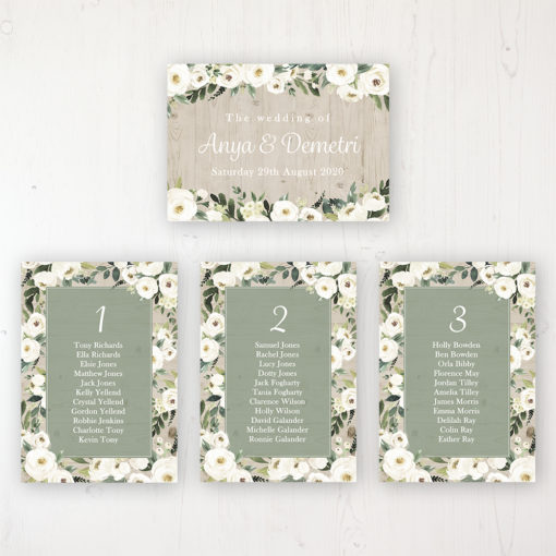 Forrester Green Wedding Table Plan Cards Personalised with Table Names and Guest Names