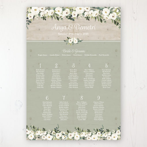 Forrester Green Wedding Table Plan Poster Personalised with Table and Guest Names