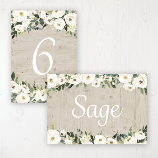 Forrester Green Wedding Table Name & Number Personalised Table Name Card and Number Card