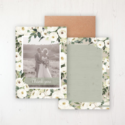 Forrester Green Wedding Thank You Card - Flat with a photo and with space to write own message