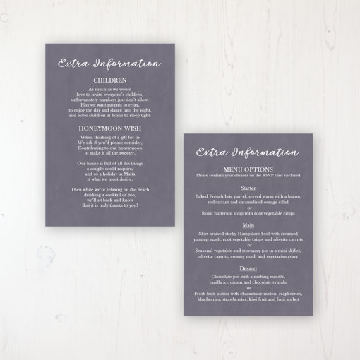 Navy Fleur Wedding Info Insert Card Personalised Front & Back