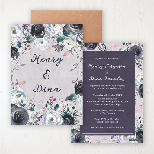 Navy Fleur Wedding Invitation - Flat Personalised Front & Back with Rustic Envelope