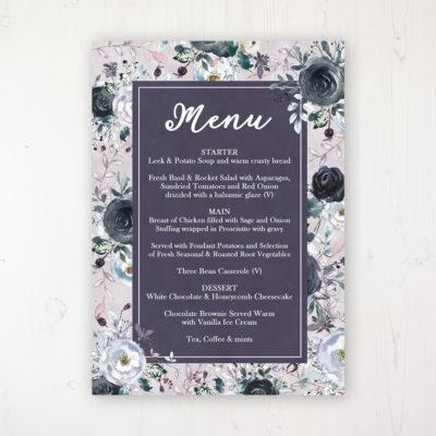 Navy Fleur Wedding Menu Card Personalised to display on tables