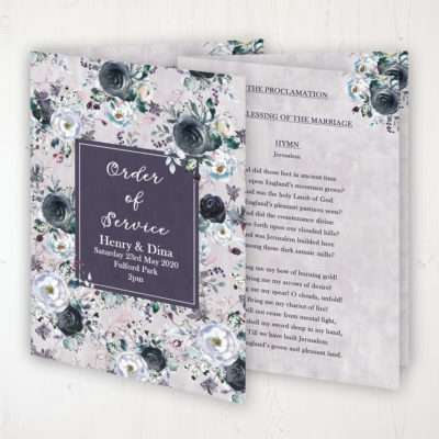 Navy Fleur Wedding Order of Service - Booklet Personalised Front & Inside Pages