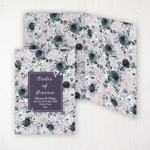 Navy Fleur Wedding Order of Service - DIY Cover Personalised Cover with Patterned Inside