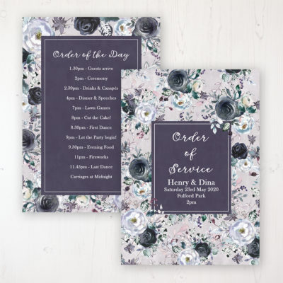 Navy Fleur Wedding Order of Service - Card Personalised front and back
