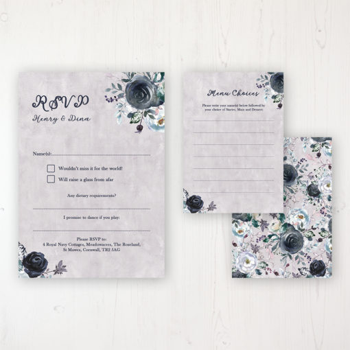 Navy Fleur Wedding RSVP Personalised Front & Back with Rustic Envelope