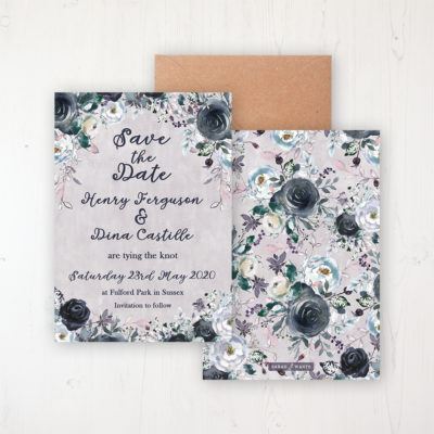 Navy Fleur Wedding Save the Date Personalised Front & Back with Rustic Envelope