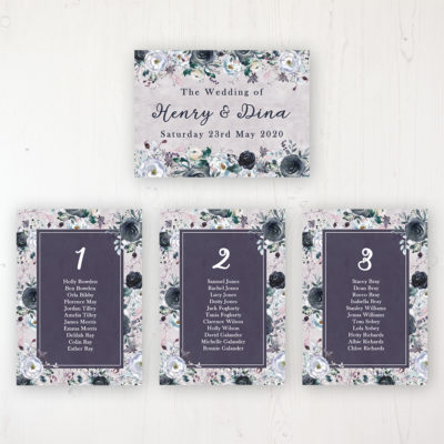 Navy Fleur Wedding Table Plan Cards Personalised with Table Names and Guest Names