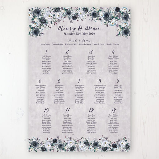 Navy Fleur Wedding Table Plan Poster Personalised with Table and Guest Names