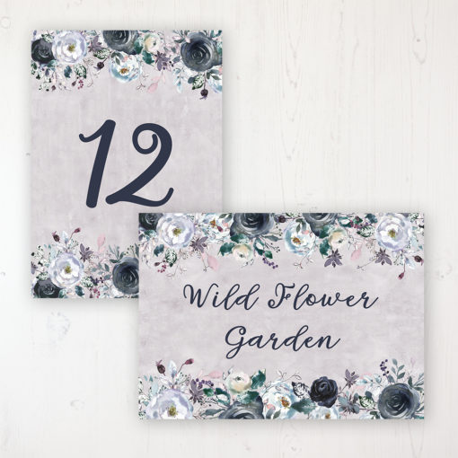 Navy Fleur Wedding Table Name & Number Personalised Table Name Card and Number Card