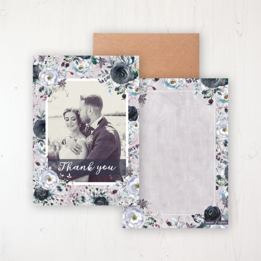 Navy Fleur Wedding Thank You Card - Flat with a photo and with space to write own message