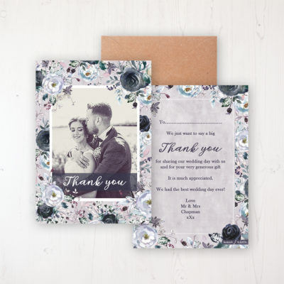 Navy Fleur Wedding Thank You Card - Flat Personalised with a Message & Photo