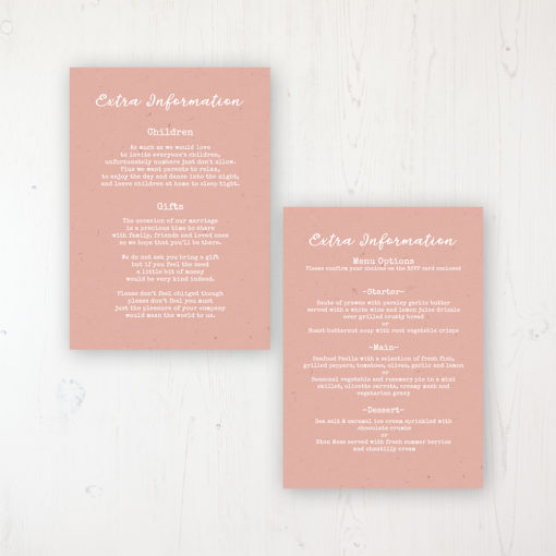 Shoreline Treasure Wedding Info Insert Card Personalised Front & Back