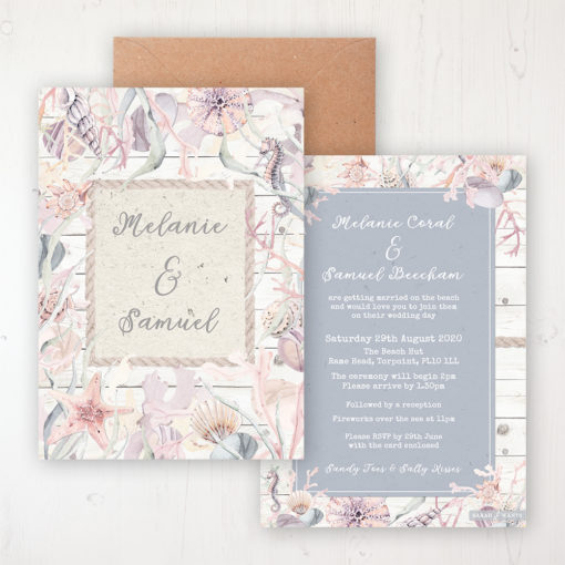 Shoreline Treasure Wedding Invitation - Flat Personalised Front & Back with Rustic Envelope