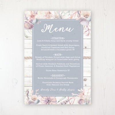 Shoreline Treasure Wedding Menu Card Personalised to display on tables